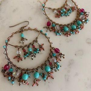 Fun beaded hoop earrings!